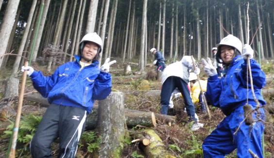 地元中学生が森の中で植林の作業をしている写真